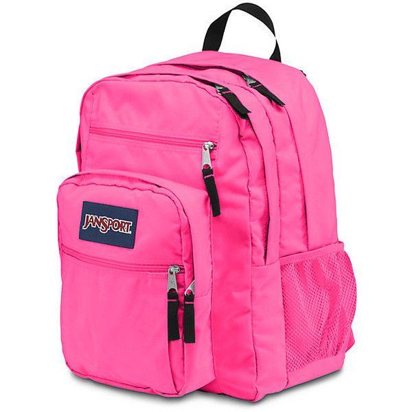 JanSport Big Student Fluorescent Pink (64 CAD) ❤ liked on Polyvore featuring bags, backpacks, pocket bag, day pack backpack, knapsack bags, neon bag and neon pink backpack