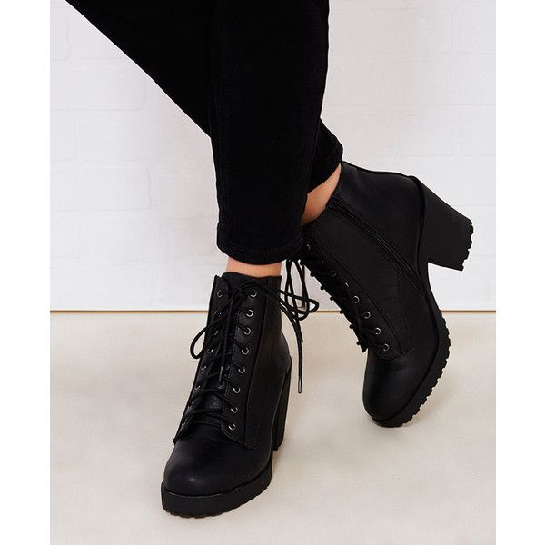 Fortune Dynamics  Chunky Heeled Combat Boots ($35) ❤ liked on Polyvore featuring shoes, boots, ankle booties, ankle boots, black, wet seal, chunky heel booties, lace up booties, black boots and black bootie