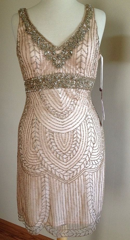 SUE WONG Blush Pink ART DECO Beaded Embellished Bridal Wedding Evening Dress 8 #SUEWONG #vneck #Cocktail