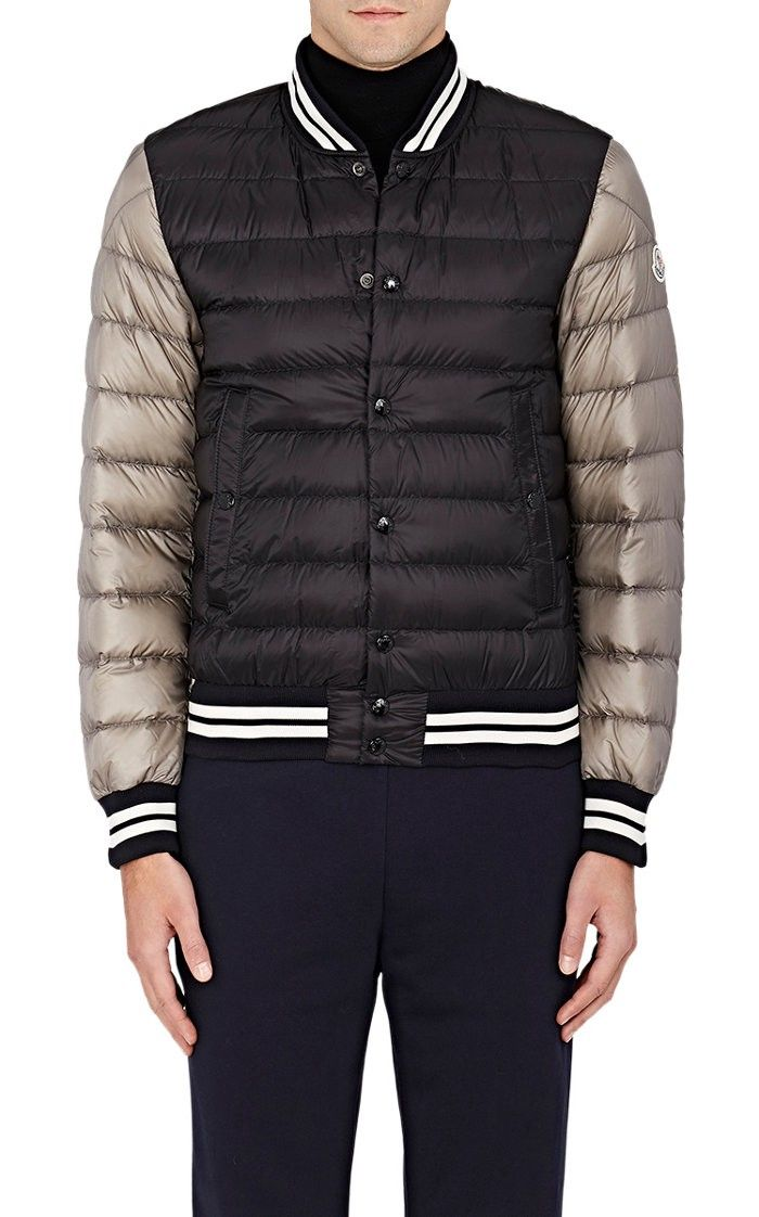 MONCLER Colorblocked Down-Quilted Varsity Jacket. #moncler #cloth #all