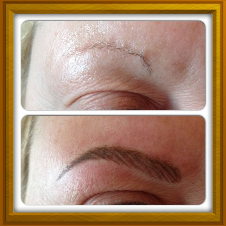 Permanent Makeup before and after  http://www.ladolcesalon.com Carmel, IN Perfect for sparse brows!