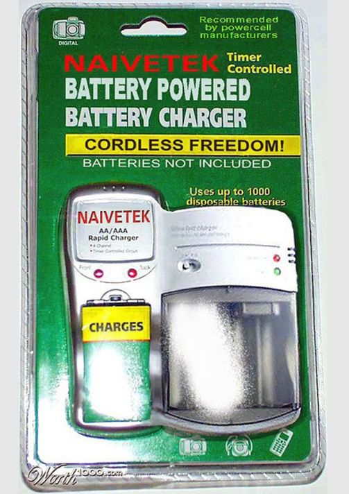 battery operated battery charger, dumb inventions, stupid inventions, inventions we don't need