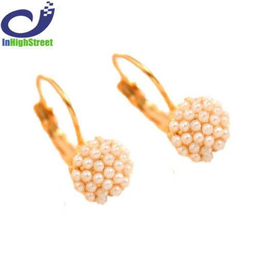 Hot Lovely Ear Cuff Gold Plated Round Imitation Pearl Beads Stud Earrings for Women Girls Piercing Wedding Jewelry Gifts