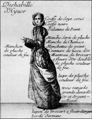 """Informal Winter Attire: 1678, """"Lady in informal winter attire walks to her coach wearing a flowered gold-brocaded gown which has been caught back to show her embroidered petticoat bordered with ermine. She wears a black coif so that her hair will not be disarranged."""" Issued with the """"Le nouveau Mercure Galant."""""""