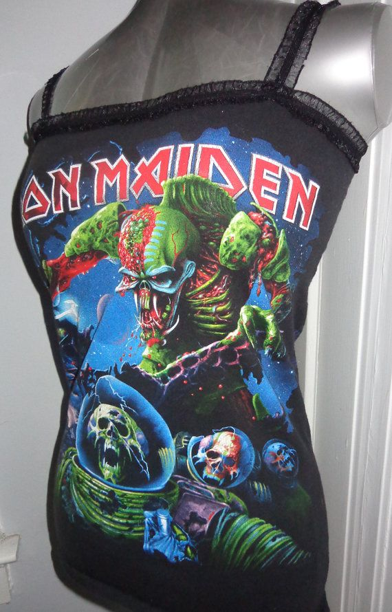 Iron Maiden ladies heavy metal band shirt tank top DIY Handmade into a flattering and form fitting item just for you! Size Medium. Only one available, so get it while it lasts! Only $26!! Shipped right to you, we ship internationally!  www.etsy.com/shop/chopshopclothing facebook.com/chopshopclothing