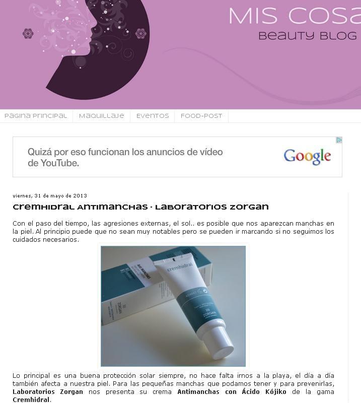 "Blog: ""Mis cosas"". Producto: Cremhidral Antimanchas."