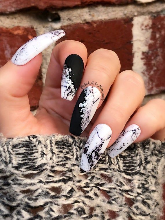 Modern Marble White Marble With Matte Black And Silver Foil Press On Nails A Modern Take On The Marble Nail Trend T Foil Nails Nail Designs Coffin Nails Long