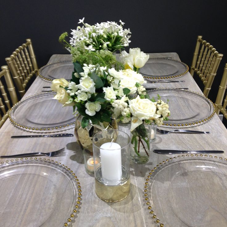Centrepiece     A mix of gold vases & candle holders with pretty florals     Wedding reception     Wedding centrepiece     Wedding styling     Wedding decor