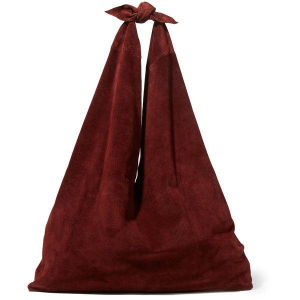 The RowBindle Suede Shoulder Bag (£930) via Polyvore featuring bags, handbags, shoulder bags, burgundy, suede shoulder bag, red shoulder handbags, red handbags, the row handbags and red suede handbag