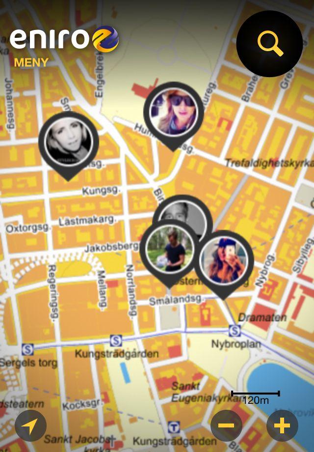 Se var dina vänner checkat in i Eniros nya mobilapp.