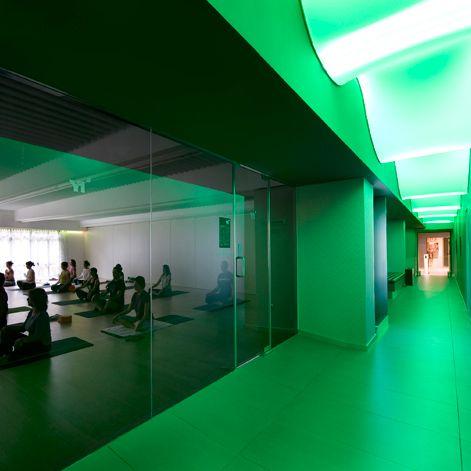 Relax atmosphere gym interior design yoga one barcelona dir