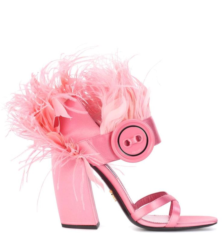 Prada Shoes. Feathers. Buttons. Strappy. Heels. Inspo. Designer. Luxury. Shoe Porn. Pastel Pink. Heels.