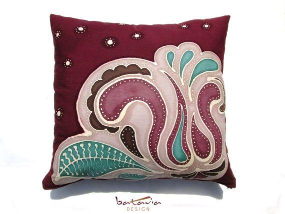 Marsala Loves Mint Handmade Hand Painted Batik Pillow, Abstract Floral Motif Tulip and Leafs, Zipper Closure Pillowcase, Bohemian Style
