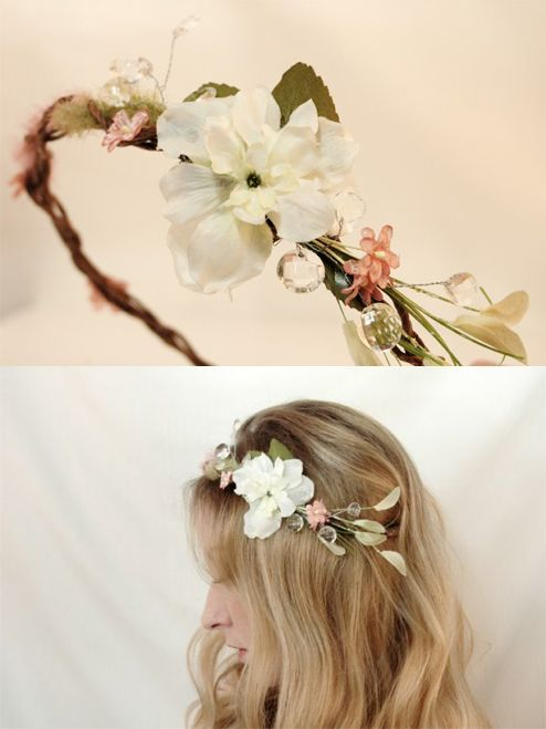 Flower hairband... I'd love to make something like this.