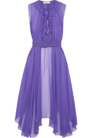 Balenciaga - Belted Asymmetric Silk-mousseline Blouse - Violet