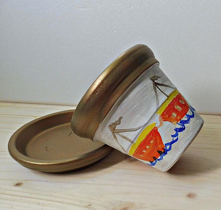 Painted Clay Pot, Boats Clay Pots, Terracotta Pot, Clay Flowers Holder, Garden Clay Decor, Summer Pottery, Small Clay Pot, Nautical Clay Pot by PaCoShaBe on Etsy