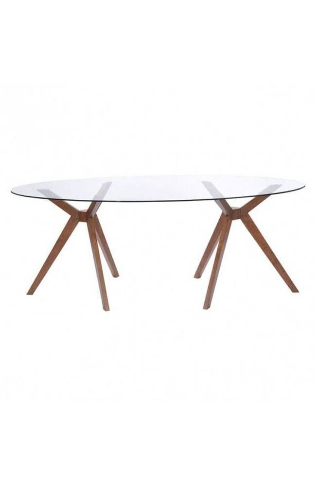 <p>Splayed legs and oval glass give the Buena Vista Table a mod feel. Has a handsome walnut color finish. It's a lovely foil for mid-century chairs.</p> <p>See last image for the dimensions.</p>
