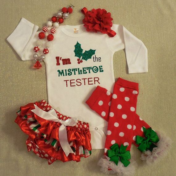 Girls Bodysuit Christmas Outfit - Long or Short Sleeves  4 piece Newborn Take Home Outfit! (Onesie, Legwarmers, Headband, and ruffles Diaper