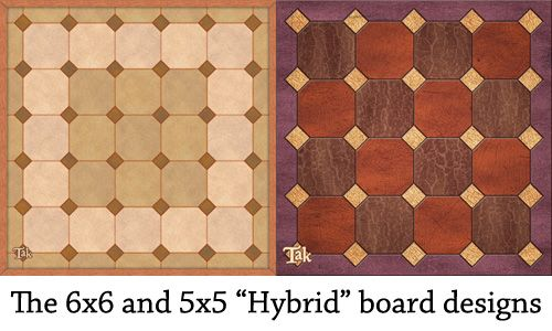 TAK: An Abstract Strategy Game -- Two Hybrid Boards