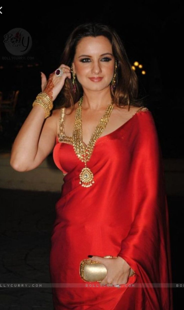 This gorgeous red satin saree is taking sexy to another level. Note: the celebrity is not Lana Del Rey, but an Bollywood star (i guess: Laila Khan?...)