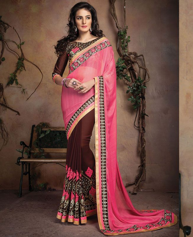 Buy Charming Pink And Coffee Designer Sarees online at  https://www.a1designerwear.com/charming-pink-and-coffee-designer-sarees  Price: $37.82 USD