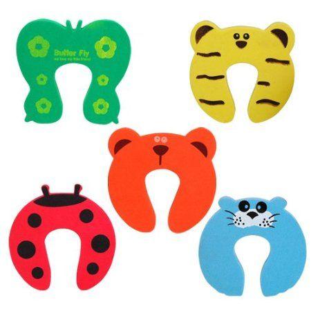 chinkyboo 5 x Animal Door Stop, Finger Pinch, Safety Guard, Helper, Finger saving- animal designs - red ladybird, green butterfly, blue seal, yellow tiger, orange bear.
