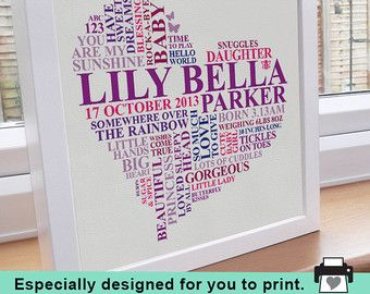 A personalised printable piece of 'Word Art', ideal for a beautiful housewarming present or special family birthday gift. Printable Files are great for a last minute gift when you cant wait for the mail!  Using the professional print files, you can print endless copies onto paper, canvas, cushions, posters and more. The art can be printed any size (instructions are included in the delivery) and I am available to assist with troubleshooting.  Please visit my shop for FRAMED PRINTS & CANVAS...