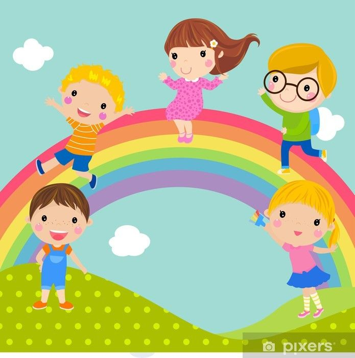 Kids And Rainbow Wall Mural Pixers We Live To Change In 2021 Kids Wall Murals Rainbow Cartoon Wall Murals