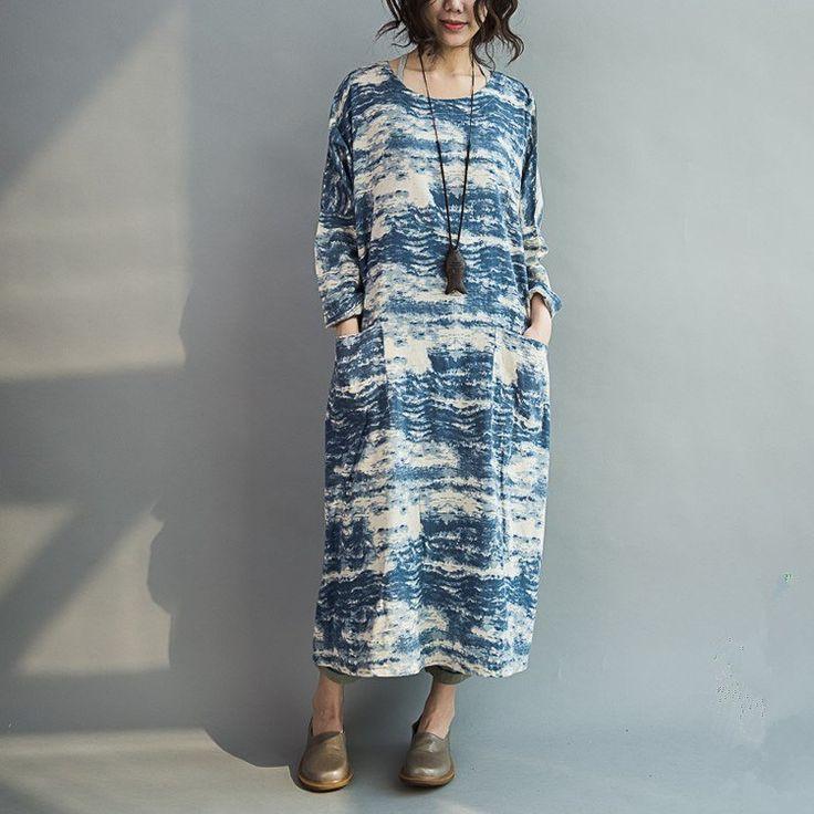 Dress - Women Blue Batik Long Section Loose Stitching Sleeve Cotton Casual Dress