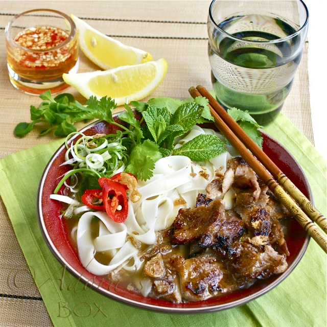 Vietnamese Chargrilled Beef/Pork Rice Noodle Soup... instructions look easy to follow, but need specialized ingredients.