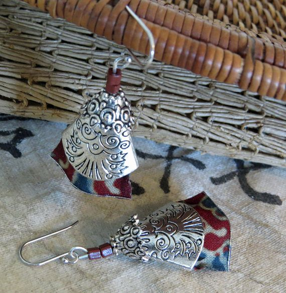 Silver and textile earrings