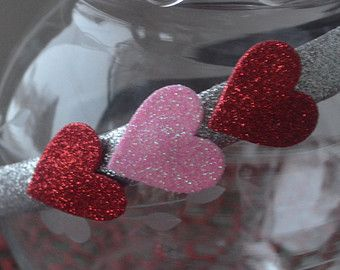Valentine pink and red glitter hearts headband.