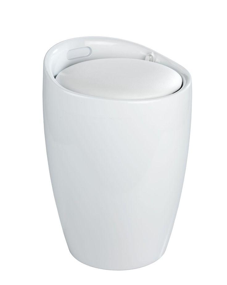Der trendige Badhocker und Wäschesammler Candy ist aus stabilem ABS-Kunststoff gefertigt. Mit seinem dezenten Weiß wird das moderne Accessoire zum Hingucker in jedem Bad.