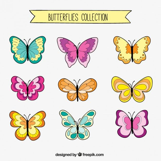 Set de dibujos de mariposas Vector Gratis