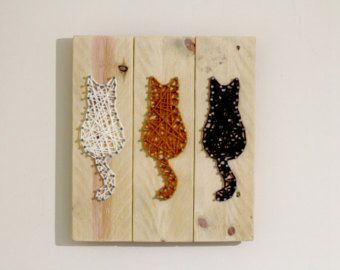 Cat Wall Hanging String Art Rustic Reclaimed Wooden Sign Wood Sign Cat Nail Art Cat Picture Brown Decor
