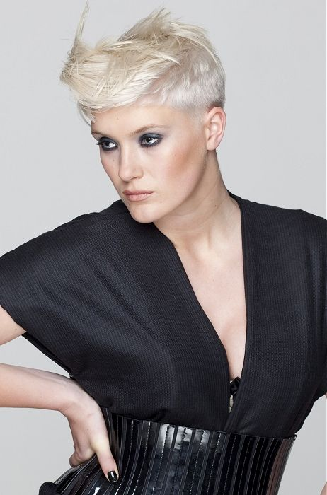 medium blonde straight spikey quiff coloured Shortfringe Womens haircut hairstyles for women