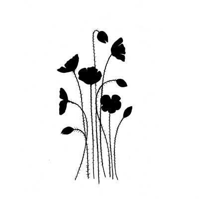 Wild Poppies Lavinia Stamp8 cm x 4