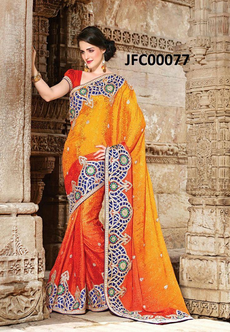 Contempory Golden Orange Lehenga Cum Saree  Itemcode: JFC00077 Price: US$ 171.58  #Shop Now @ http://www.jivafashion.com/sarees/contempory-golden-orange-lehenga-cum-saree/code=JFC00077