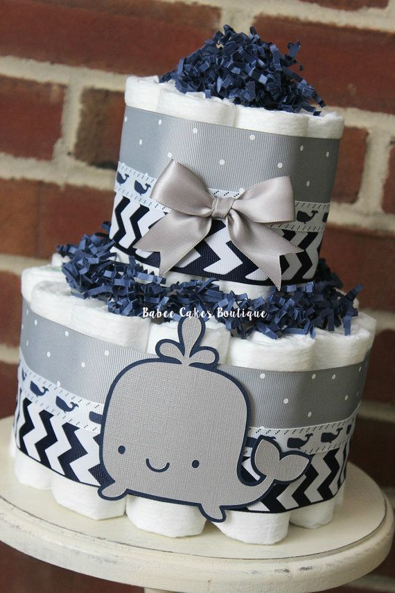 2 Tier Navy and Gray Whale Diaper Cake Boy Baby Shower Grey