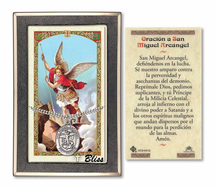 Bliss Spanish St Michael/San Miguel Arcangel Pendant Necklace with Holy Prayer Card Gift Set #poemasdeamor