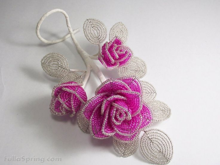 Fulla Spring, French Beaded Flowers - Bouquet of Pink and Clear French Beaded Flower