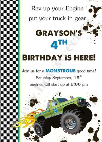 Monster Truck Birthday Party Invitation | Sweetparties - Childrens on ArtFire $15