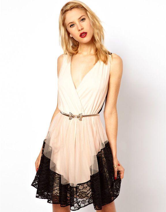 vestido de tule e renda - vestidos asos