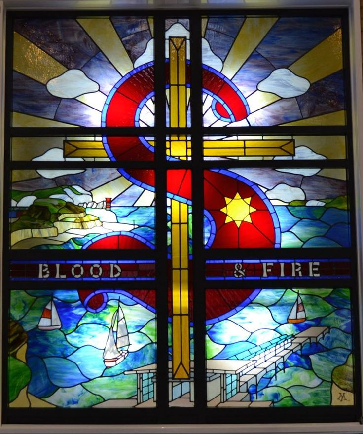 """I love stained glass windows in church, but had never seen one with The Salvation Army """"Blood and Fire"""" slogan and logo. With a quarter century of TSA connections, I love this."""