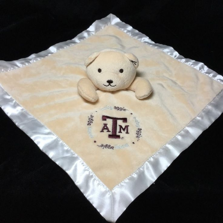 Texas  A & M Aggies Baby Security Blanket Lovey Velour Satin Football College  #BabyFanatic