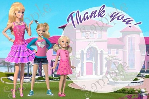 Barbie in the Dream House Birthday Party Invitation, FREE thank you card