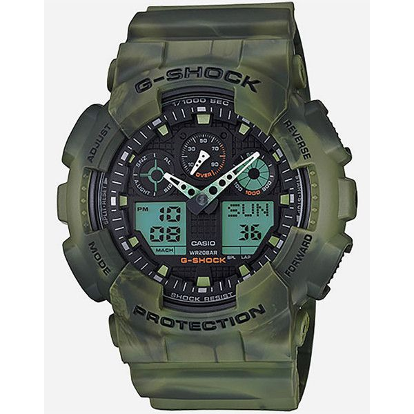 G-Shock GA-100MM-3A Watch ($131) ❤ liked on Polyvore featuring men's fashion, men's jewelry, men's watches, camo green, mens military watches and g shock mens watches