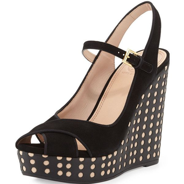 Tory Burch Ollie Suede Leather Polka Dot Wedge Sandals Size 8 New... (£190) ❤ liked on Polyvore featuring shoes, sandals, suede sandals, platform shoes, suede platform shoes, suede shoes and polka dot shoes