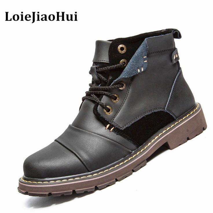 NOUVEAU Mens Bottes Bottines en cuir véritable pour Hommes occasionnels Chaussures Mode Noir Automne Chaussures Bottes KSC2C