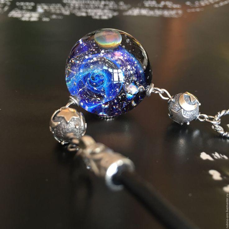 Купить Через Вселенную (синяя ночь)...VIP Колье. - лемпворк, космос, галактика, стекло